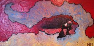 2- HEM,vague d'hérédité,2013,acrylique et énamel,toile,48x24,1200$(vendu)