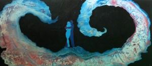 6- HEM,vague déferlante,2013,acrylique et énamel sur laminé,54x24,1800$