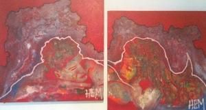 8- Hem, Vague de désir (dyptique), 2013, Acrylique et énamel sur toile, (2X) 30''X30'', 1600$