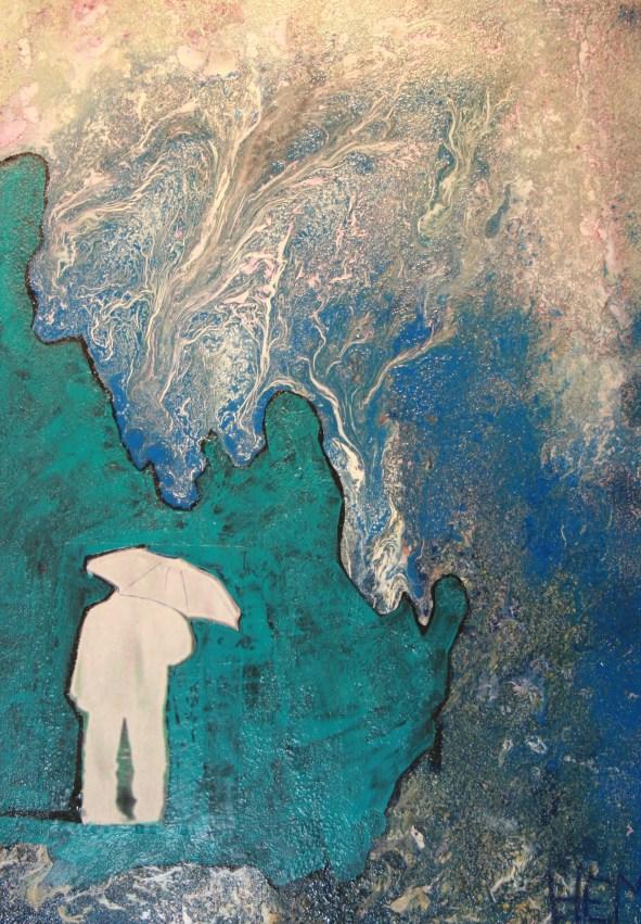 HEM, l'homme au parapluie,2009 Technique mixte sur laminé, 24x36, 1000