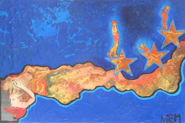 HEM,portés par sa vague,2013,acrylique et énamel,toile,36x24, collection privée