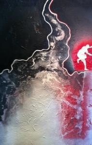 ''Vague d'audace-3'', Acrylique et techniques mixtes sur toile, 24''X36'', 1000$ch (tryptique 2400$), 2013