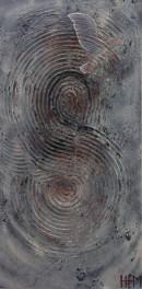 ''Corne de brume'' , Variation-4, HEM,18''X36'', Acrylique et mixtes
