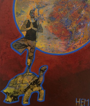 ''Yoga-tortue-3'', HEM, 12''X24'', Acrylique et mixtes